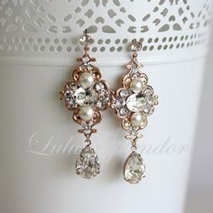 Rose Gold Wedding Jewelry Bridal earrings Pearl by LuluSplendor