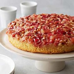 yummy, only used cup sugar in rhubarb topping and served with coconut whipped cream -Flourless Rhubarb-Almond Upside-Down Cake Rhubarb Desserts, Rhubarb Cake, Rhubarb Keto, Rhubarb Dishes, Gluten Free Cakes, Gluten Free Baking, Gluten Free Rhubarb Recipes, Healthy Baking, Healthy Food