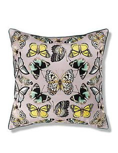 Green Mix Embroidered Butterflies Cushion