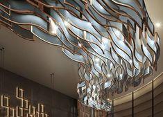 Ceiling Art, Ceiling Light Design, Ceiling Lights, Interior Lighting, Modern Lighting, Lighting Design, Design Café, Lobby Design, Chandelier Lighting