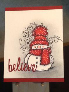 Christmas Card - Penny Black Snowy Stamp - Sizzix/Tim Holtz Holiday Words Script Dies - Inks:  Hero Arts Soft Granite, Memento Tuxedo Black - Copics:  R20, R24, R46, R59, C00, C1, C2, C4, C5, 0 - Uni-Ball Signo Broad White Pen - Cardstock:  Neenah Classic Crest Cover Solar White 80lb, Bazzill Red Hots