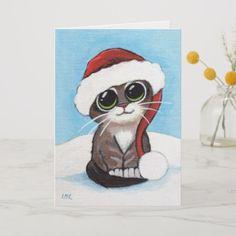 Shop Cute Tabby Kitten Wearing Santa Hat Christmas Card created by LisaMarieArt. Xmas Drawing, Christmas Drawing, Christmas Kitten, Christmas Animals, Christmas Paintings On Canvas, Santa Paintings, Kitten Drawing, Kawaii, Arte Popular