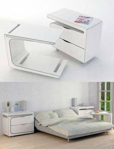 Bedside table that also doubles as a tray table for breakfasts in bed.