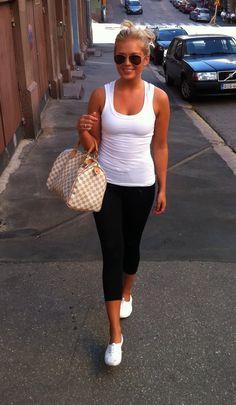 Shoes, yoga pants, tank. summer casual