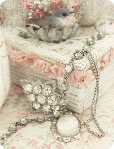 Vintage jewelry pink jewelry vintage flowers lace bird necklace Find Everything you need to re-create this look at Sleepy Poet Antique Mall!