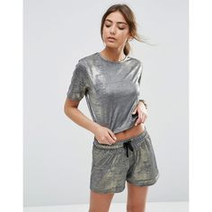 ASOS Crop Top In Metallic Co-ord ($26) ❤ liked on Polyvore featuring tops, gold, crop top, metallic top, jersey crop top, relaxed fit tops and jersey top