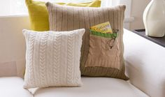 DIY upcycle old sweaters into pillows. Love the pockets for remotes and whatnot.
