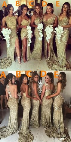 Sexy Unique Mismatched Gold Seuin Side Split Sparkly Women Long Wedding Party Dresses for Bridesmaids, WG86 The long bridesmaiddresses are fully lined, 4 bones