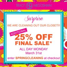 #Spring sale -- TODAY only (3/31/2014)!  www.tracynegoshian.com