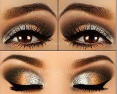 Bello maquillaje plata ocre y negro