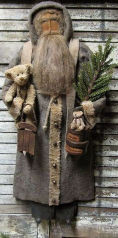 Love this Santa with his bears and tree! Primitive Christmas Decorating, Primitive Santa, Primitive Crafts, Christmas Decorations, Primitive Christmas Patterns, Wood Crafts, Merry Christmas, Santa Christmas, Country Christmas