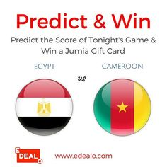 Predict the score of the FINAL GAME & get a chance to win a JUMIA Gift Card. Here's what you need to do: 1- subscribe to our newsletter via link in bio  2- write your prediction for the score of the game below  (in Egypt - Cameroon format). The one who predicts the correct score wins. If several people predict the correct score the one whose correct prediction get the most likes wins). Predictions end at 9 pm.  Winner will be announced tonight after the game.  #edealo #egypt #thisisegypt…
