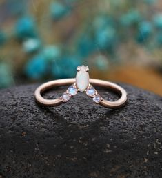 Alexandrite Engagement Ring, Deco Engagement Ring, Engagement Ring Settings, Curved Wedding Band, Wedding Bands, White Gold Wedding Rings, Marquise Cut, Anniversary Bands, Opal Rings