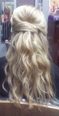 Wedding hair, half up half down wavy, for a princess on her special ...