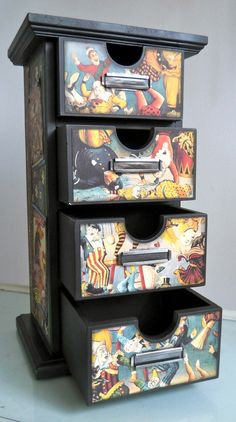 ModgePodge craft paper or comic books or drawer fronts and sides.