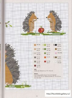 Colors for owl cross stitch Hedgehog Cross Stitch, Xmas Cross Stitch, Cross Stitch Boards, Cross Stitch Animals, Cross Stitch Embroidery, Embroidery Patterns, Cross Stitch Patterns, Hedgehog Craft, Stuffed Animal Patterns