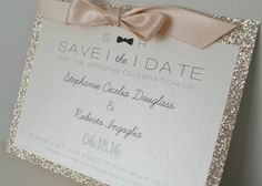 Bow-Tie Glitter Save the Date // Invitation // by PeoniesPolkaDots