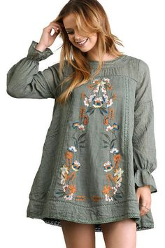 Umgee Long Sleeve A Line Dress with Floral Embroidery Medium Olive >>> Check out this great product. (This is an affiliate link) #HashTag2