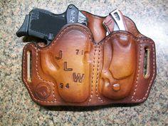 Combination holster and pocket knife sheath made at Boulder Creek Saddle Shop, Kettle Falls, WA.