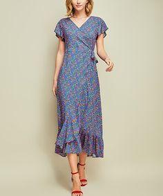 Royal Blue Floral Side-Tie Midi Dress #zulily #zulilyfinds