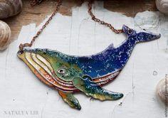 Купить Космический Кит - Горячая эмаль, перегородчатая эмаль, медное украшение, кулон кит, кит