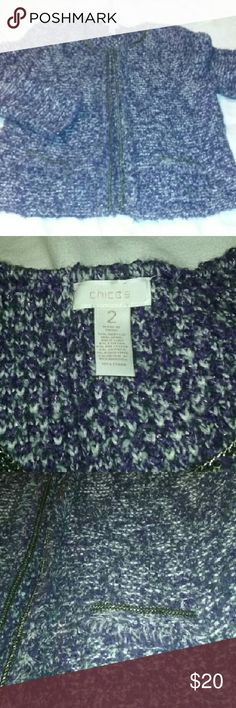 """Chicos Cardigan Sweater Woo Blend Purple Chicos 2 Very good, clean condition. Hidden clasp front closures. Wool blend. Fully lined. Chico's size 2. Approx measurements laid flat: chest 19"""", length 23"""". Great find! Chico's Sweaters Cardigans"""