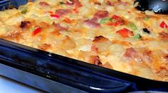 Cheesy Amish Breakfast Casserole - I made it with Potatoes O'Brien instead of plain hash browns, and then omitted the chopped onions. Also made the night before and refrigerated overnight. It was so yummy - everyone loved it!