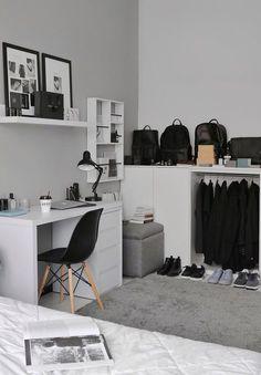 Small Room Bedroom, Room Ideas Bedroom, Home Decor Bedroom, Ikea Bedroom Design, White Bedroom Decor, Interior Livingroom, Home Room Design, Home Office Design, Small Room Design