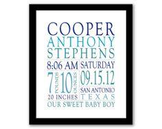 Birth Stats Wall Art, Nursery Wall Art, Baby Name Print, Birth Details, Baby Birth Announcement, Baby Boy Art, Printable Wall Art,