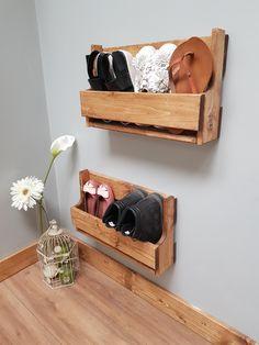 Set of 2 Small Shabby Chic Wooden Shoe Racks Farmhouse Vintage Shoe / Display Shelf Space saver Shoe Storage Shoe Display, Display Shelves, Display Wall, Small Shoe Rack, Wooden Shoe Racks, Masonry Wall, Shoe Storage, Porch Storage, Vintage Shoes