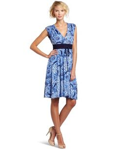 Plenty by Tracy Reese Women's Cornflower Batik Floral Surplice Dress for $218.00