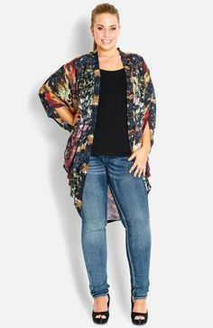 City Chic Garden Print Kimono (Plus Size) available at #Nordstrom