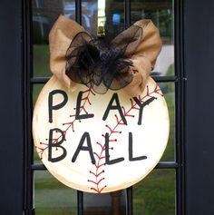 Door Hanger Baseball Baseball Wall Decor Vintage by LooLeighsCharm, $40.00