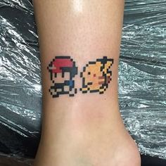 Pixel art of Ash and Pikachu. | Community Post: 25 Tattoos That Will Transport You To The 1990s