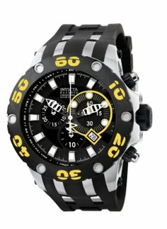 Invicta Mens 0902 Subaqua Reserve Chronograph Black Dial Black Polyurethane Watch ** Read more reviews of the product by visiting the link on the image.