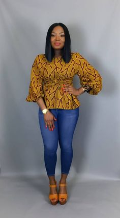 African print fabric used for blouses,dashiki tops, that can be Rocked with Jeans Trouser for AFRICAN WOMEN - WearitAfrica African Print Dresses, African Print Fashion, Africa Fashion, African Fashion Dresses, African Dress, Fashion Prints, African Prints, African Print Top, African Style Clothing