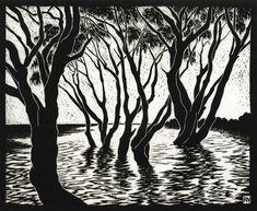 Artist: Rachel Newling. Title: Tea Trees Lake Ainsworth. Description: Linocut.