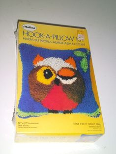 Vintage Malina Owl Latch Hook Kit 12 X 12 Pillow Sealed New In Box  Bright Owl