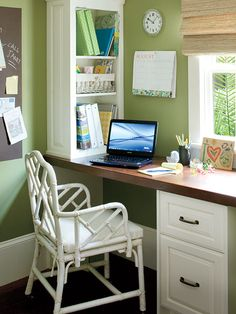 Office idea: long desk under window, open front cabinet on side for printer and supplies.  Love the dark surface and white cabinet.  Blue walls?