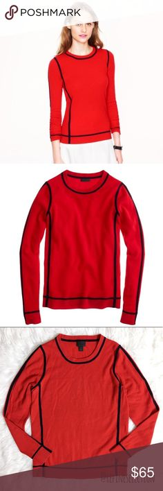 J. Crew Collection Frame Cashmere Red Sweater Pre-loved in excellent condition, worn a few times, no rips or stains. Has no noticeable pilling, Women's size Medium. This JCrew Collection Frame Cashmere Red Crewneck Sweater is so luxuriously soft & comfortable! Made of 100% Cashmere, this will be a staple piece that you will cherish! Love the beautiful shade of red, with the geometric frame lines in all the right places. The lines are a deep navy blue but looks black in the picture. Measures…