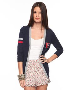 Letterman Sweater Cardigan  $19.80...so great for the fall season especially a college student or someone who wants the college look. This can be purchased at Forever 21 online.