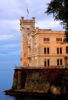 ~Castello di Miramar, Trieste, Italy  Beautiful castle on coast with great gardens around it~