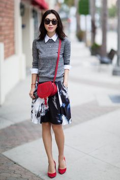 Milly 'Katie' Print Pleated Skirt, Alice + Olivia Collared Crewneck Sweater, Tory Burch 'Greenwich' Suede Pointy Toe Pump, Karen Walker Super Duper Strength Sunglasses, Chloé 'Small Marcie' Leather Crossbody Bag, business casual, dress for work, fall fashion,business outfit