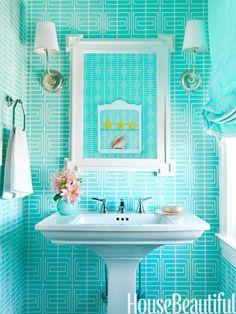 Bold bathroom colour