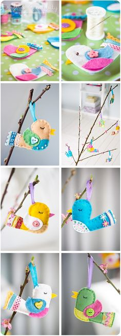 Made these plus other felt Easter things. Got patterns from Easter coloring books. Bird Crafts, Cute Crafts, Felt Crafts, Easter Crafts, Crafts For Kids, Spring Crafts, Holiday Crafts, Sewing Projects, Craft Projects