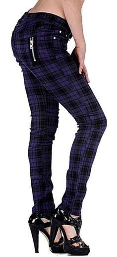 Jawbreaker Purple Tartan Skinny Jeans - from Tragic Beautiful.