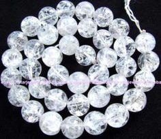 """Crackle Rock Crystal globose Gemstone Beads15"""" 8mm 10mm 12mm 14mm 16mm   eBay"""
