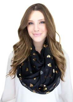 BLACK GOLD HEART infinity scarf, black infinity scarf with gold heart pattern throughout | $29, check out the rest of the store!
