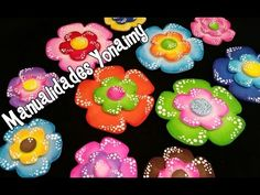 FLORES COLORIDAS CON PUNTITOS HECHAS CON FOAMY O GOMA EVA. - YouTube Kids Crafts, Foam Crafts, Creation Crafts, Pasta Flexible, Kids Christmas, Projects To Try, Crafty, Flowers, Gifts
