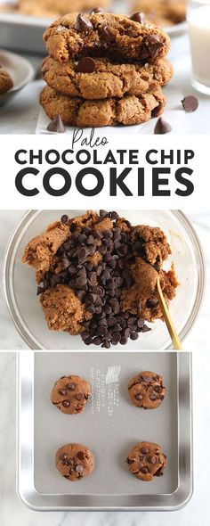 Say hello to the best chocolate chip cookies on the internet! These ooey-gooey healthy almond flour chocolate chip cookies are naturally sweetened and grain-free. And guess what? They don't taste healthy! Paleo Cookie Recipe, Paleo Cookies, Paleo Treats, Healthy Dessert Recipes, Healthy Baking, Cookie Recipes, Snack Recipes, Keto Desserts, Healthy Sweets